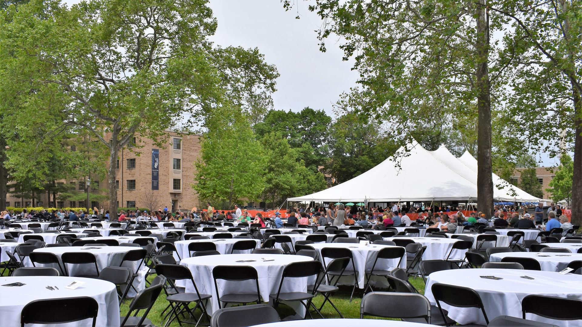 tables chairs set up at Notre Dame picnic
