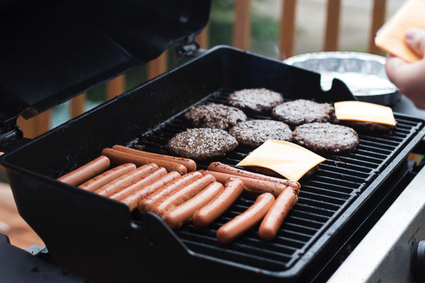 Grilling burgers and hotdogs