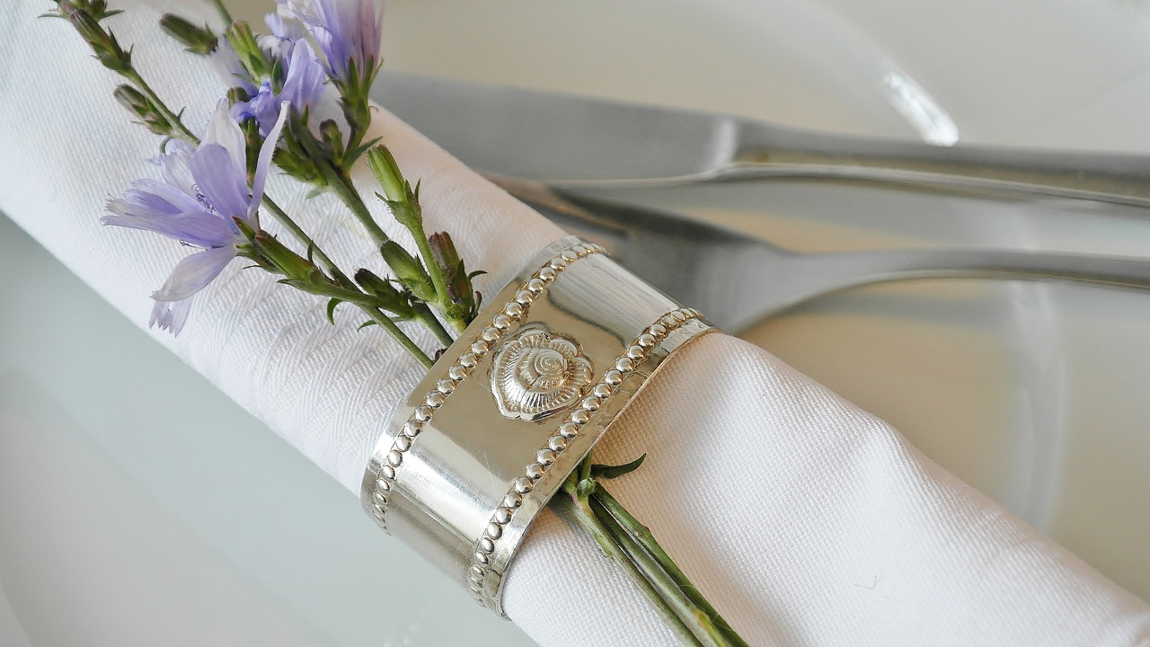 Place Setting Napkin and Silver Ring