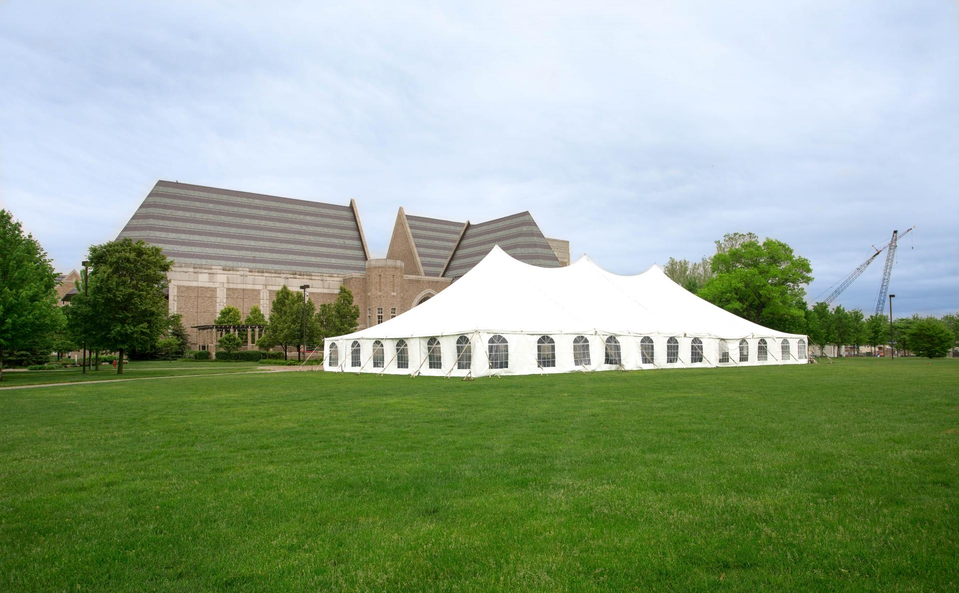 Pole Tent Set for Commencement At The University Of Notre Dame