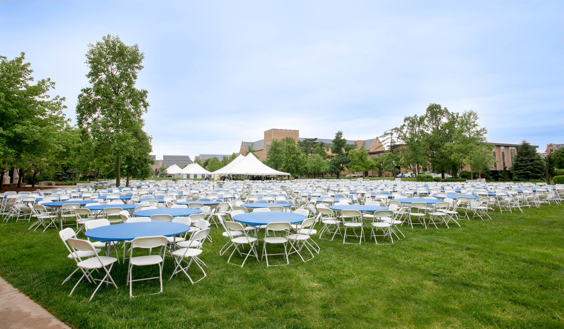 Tables and Chairs Set For Post-Commencement Activities