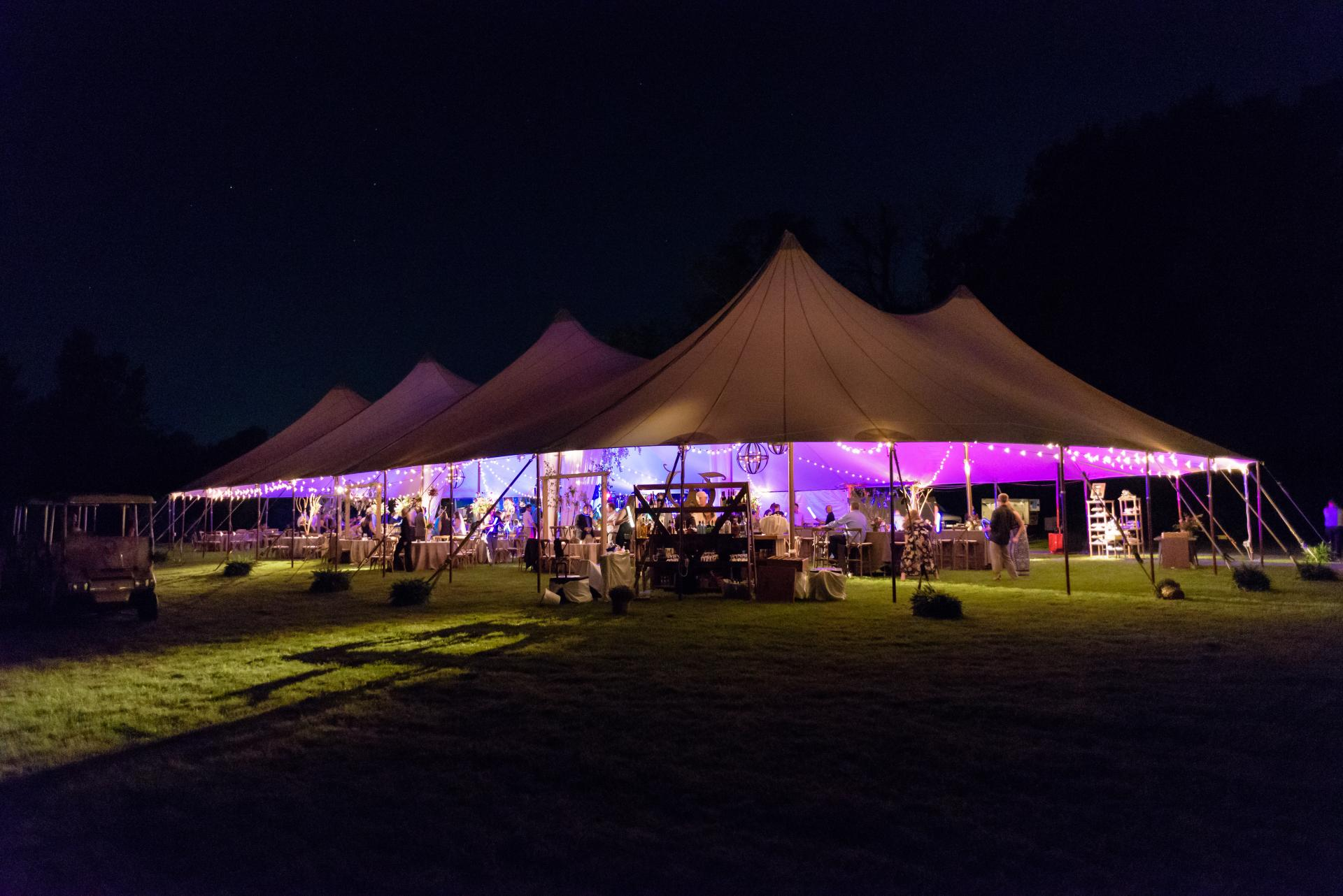 Sailcloth Tent Wedding at Night