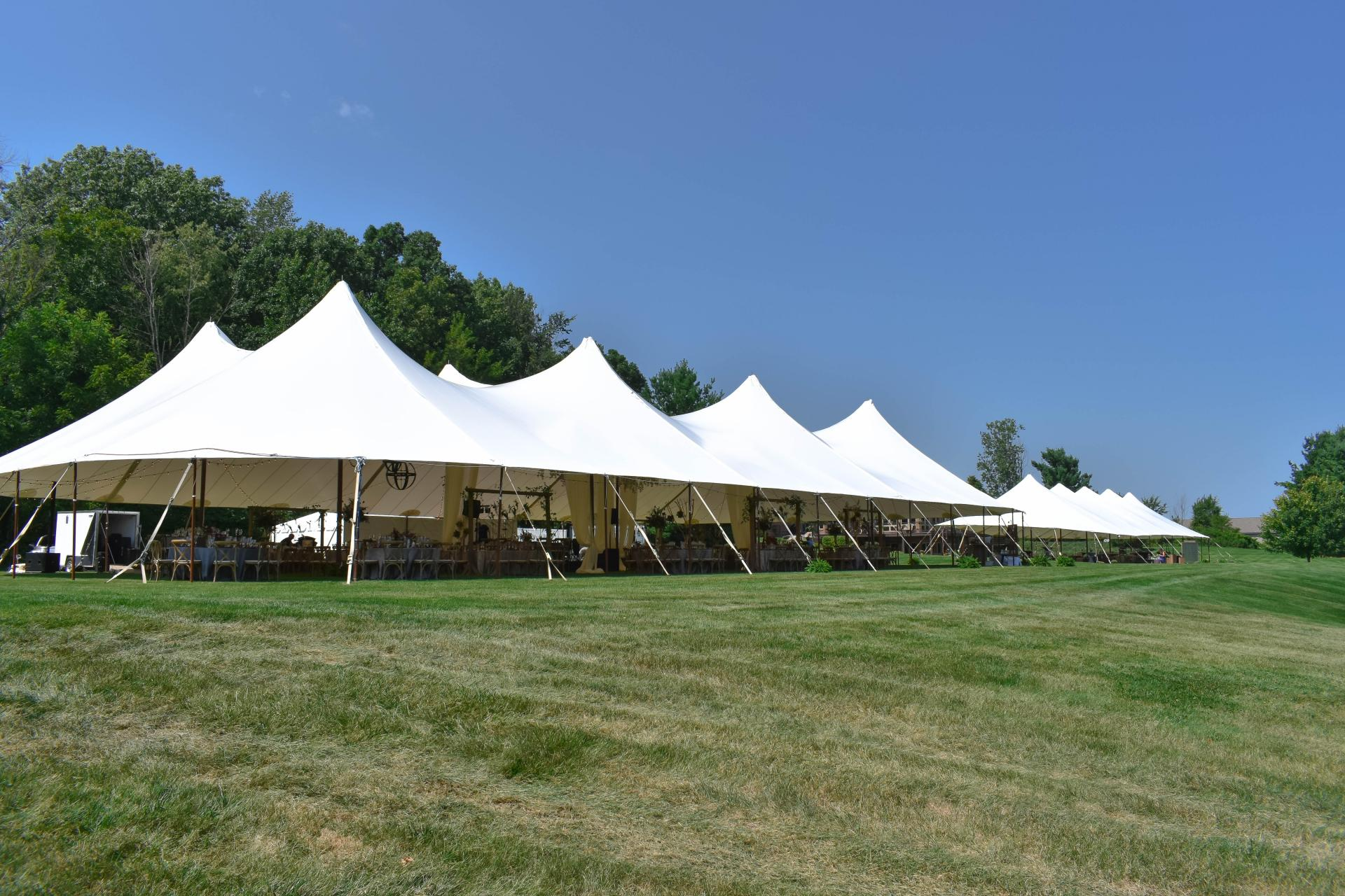 Two Sailcloth Tents Set For A Wedding