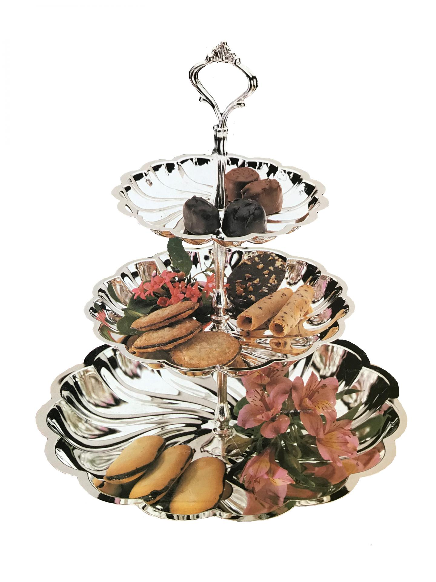 3 Tier Silver Serving Tray Rental Products Aays Event Rentals