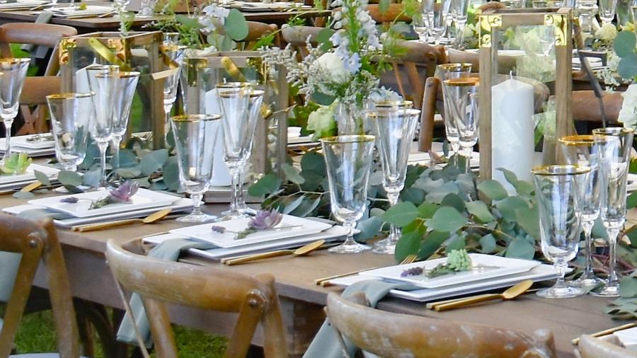 farm tables with place settings