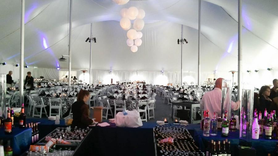 Double Pole Tent Setup For Corporate Dinner