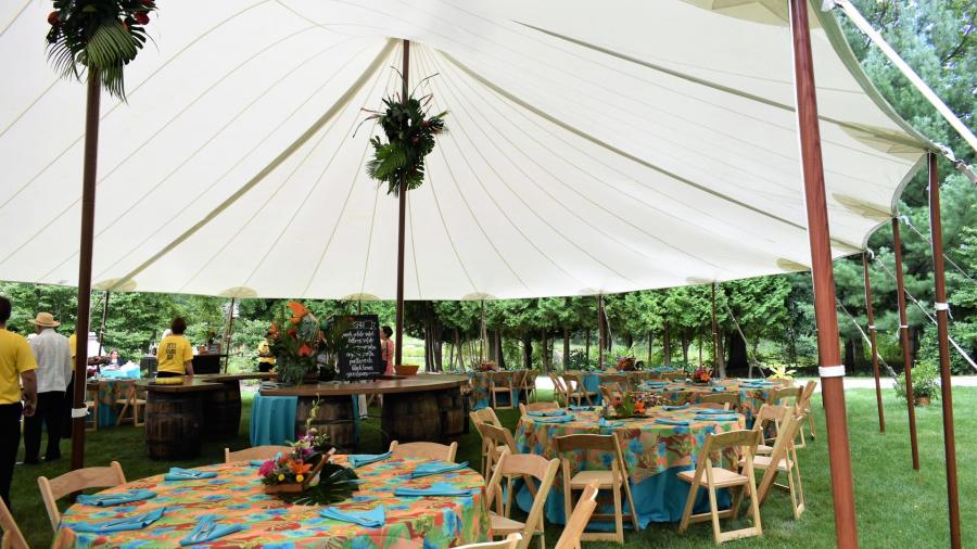 sailcloth tent and tables