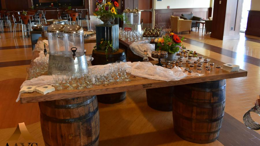 Whiskey Barrel Buffet Setup
