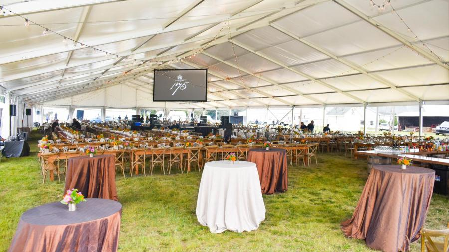 Structure Tent Dinner Setup With Stage