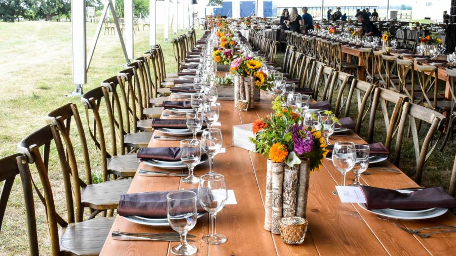 long table with settings