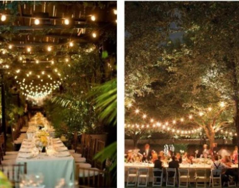 Bistro lighting sets the state for a industrial glam wedding