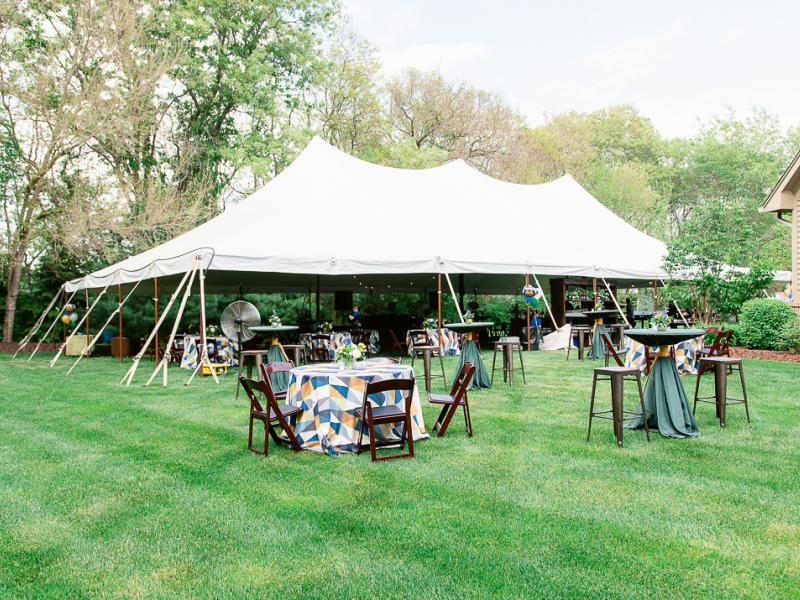 Tent with tables and chairs
