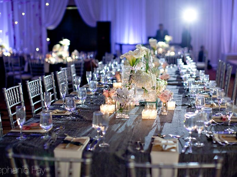 long tables and silver chiavari chairs rental