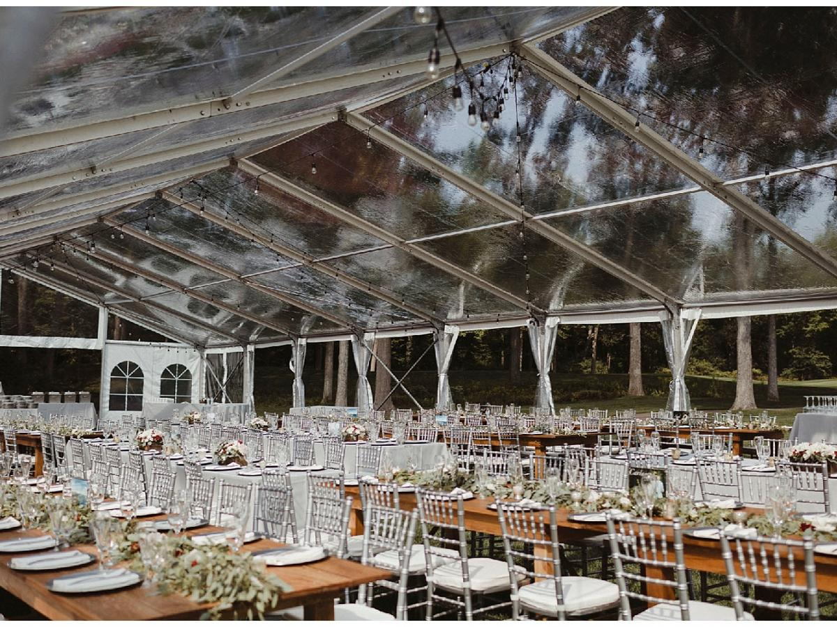 Clear top structure tent clear top structure tent with chiavari chairs and farm tables ... & Clear Top Wedding | Aays Event Rentals
