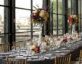 long tables, linen, and chiavari chair rentals