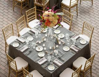 square table and chiavari chair rental