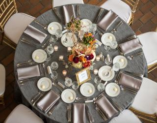round table and gold chiavari chair rental