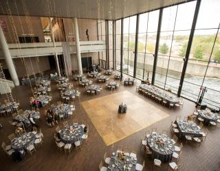 wedding in the great hall at century center, south bend, indiana