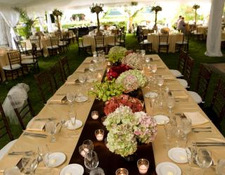 long tables with linens and mahogany chiavari chairs rental