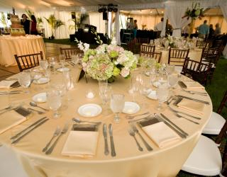 Mahogany chiavari chairs and round tables with linens rental