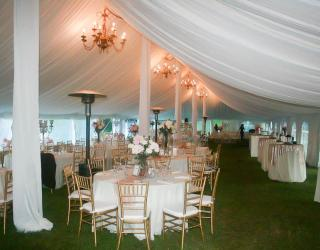 Pole tent, tent liner, and gold chiavari chair rental