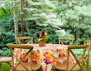 floral table and chairs