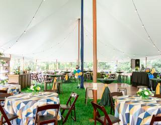 tented space with dance floor