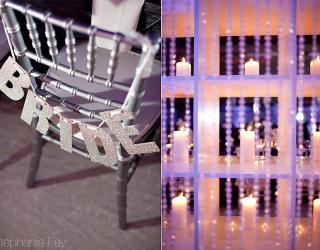 sparkly chair with bride and candles