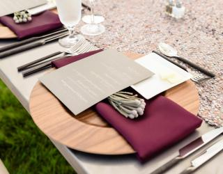 walnut wood charger and flat iron flatware rental