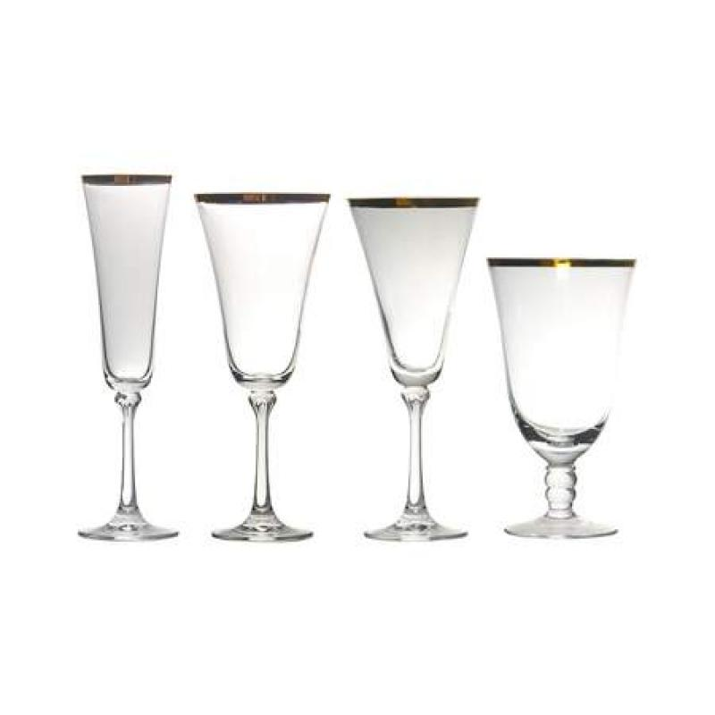 Gold Banded Glassware Rental