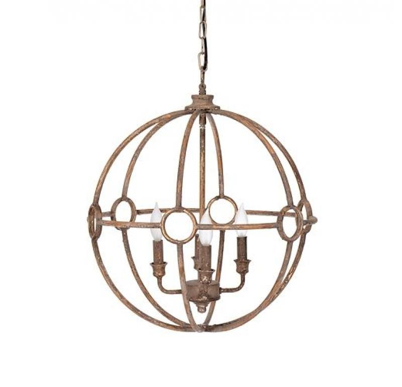 Gold Distressed Globe Chandelier