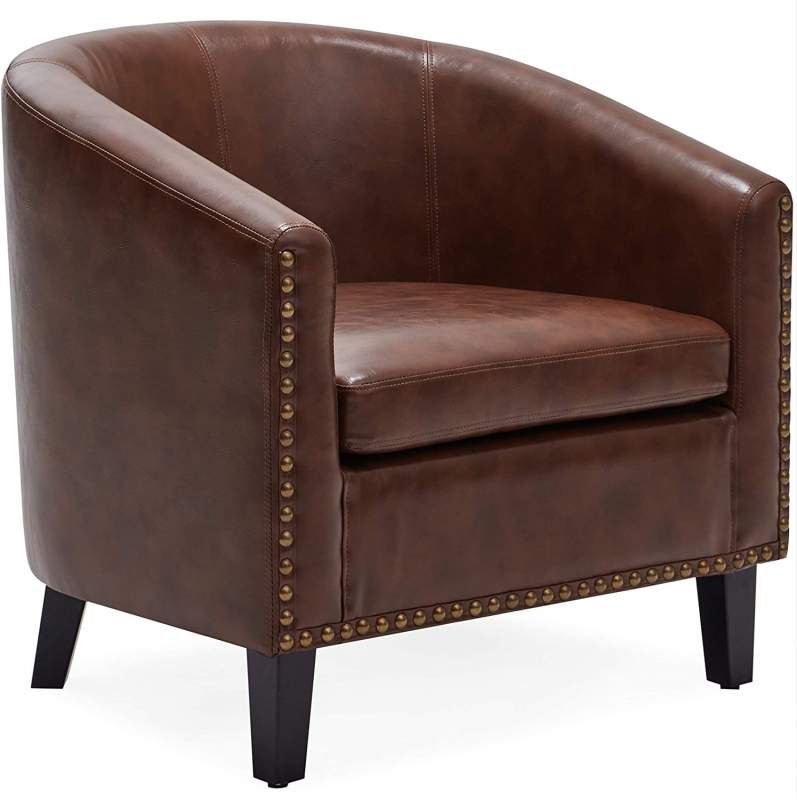 Leather Barrel Chair Side View