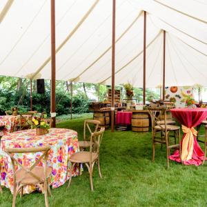 sailcloth tent with tables and chairs