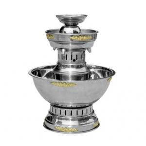 2 Tier Stainless with Gold Trim Fountain