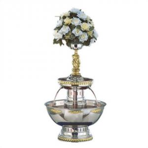 Cupid 2 Tier Stainless with Gold Trim Fountain