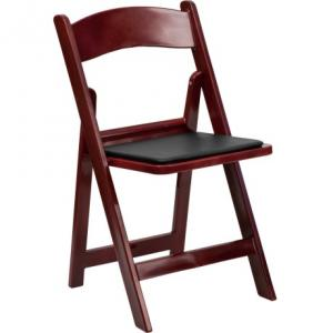 mahogany plastic padded folding chair