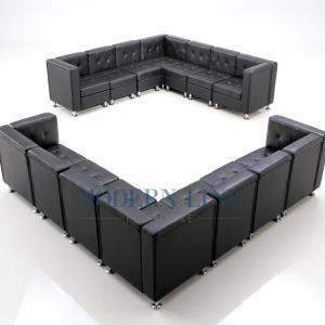 Leather Sectional Sofa in Black