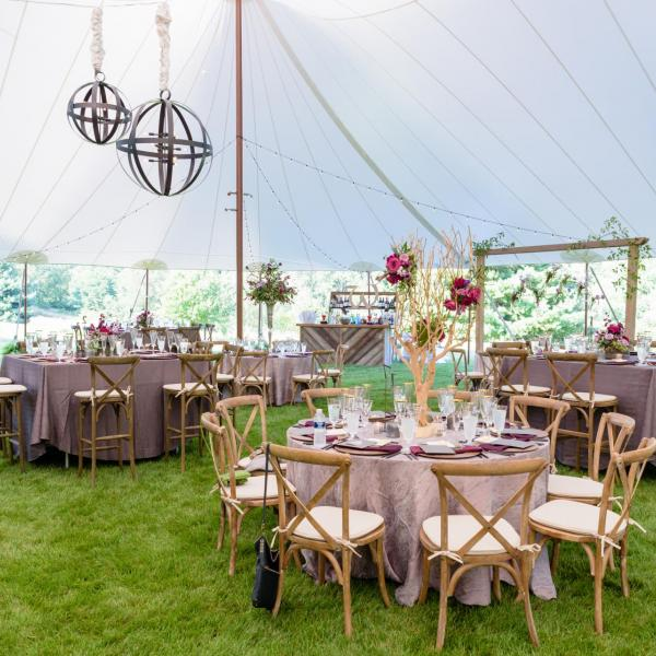 round tables, cross back chairs, square tables rental