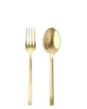 brushed gold flatware serving pieces