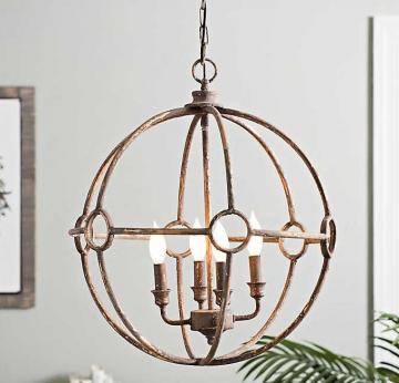 Distressed Globe Chandelier in Gold