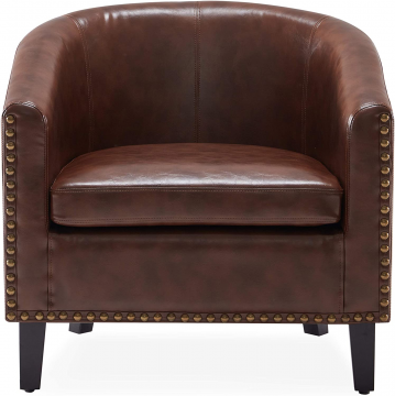 Leather Barrel Chair Front View