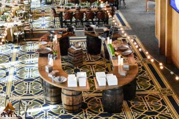 whiskey barrel buffet table