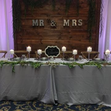 Wooden Back Drop at Bridal Show